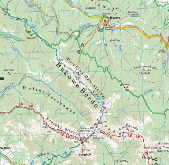 Muczne - Bukowe Berdo, najpiękniejszy szlak w Bieszczadach, mapa