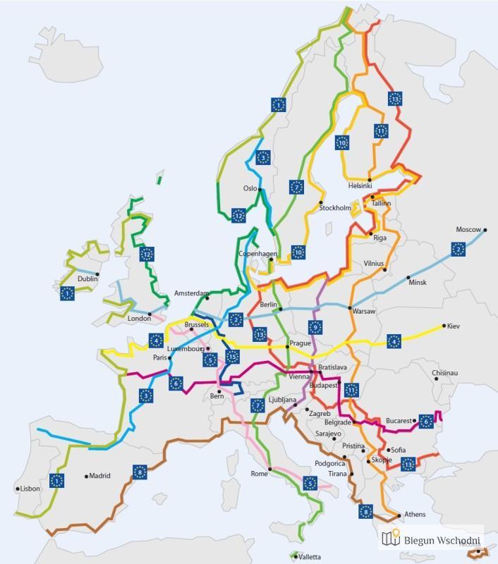 Trasy i ścieżki rowerowe w Europie - EuroVelo