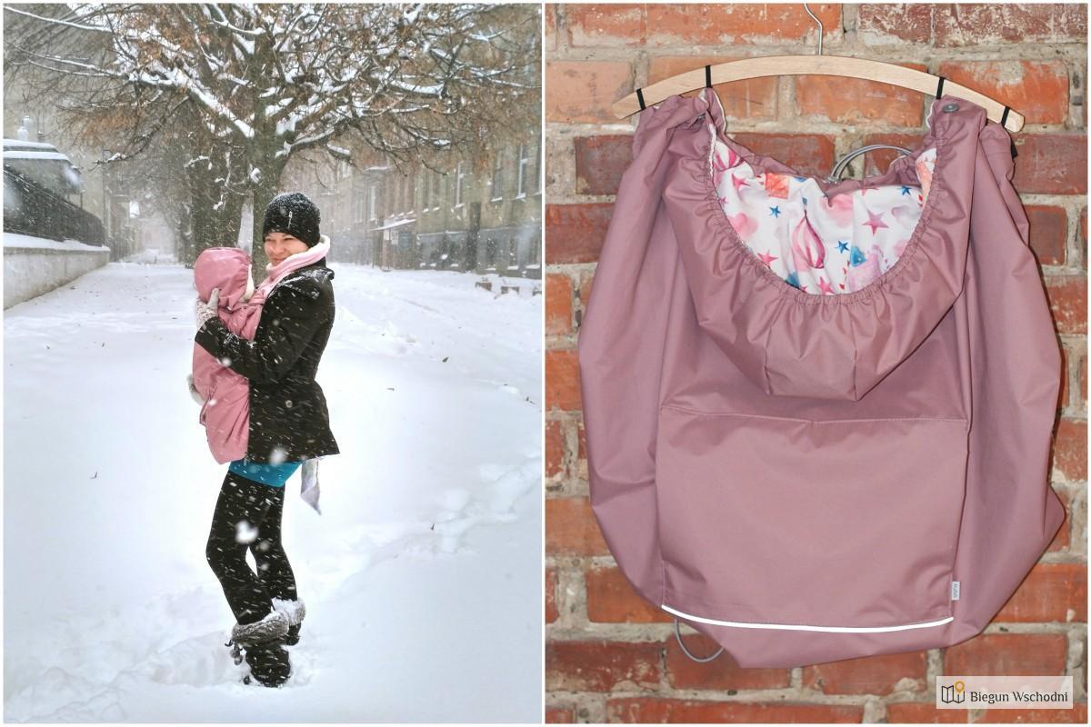 Noszenie dziecka zimą - ocieplacz osłonka na chustę i nosidło Mabibi