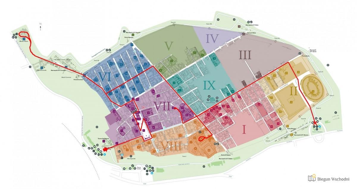 Pompeje - mapa miasta i trasa zwiedzania
